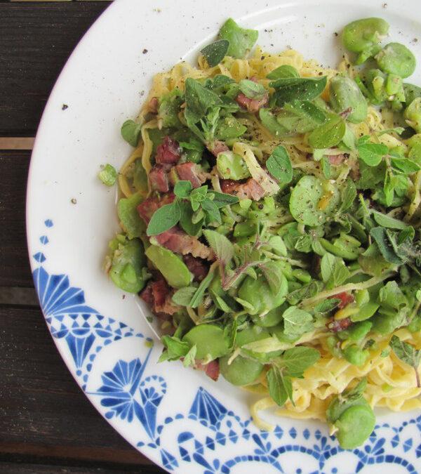 Makaron domowy (przepis drugi) i szybkie danie z bobem