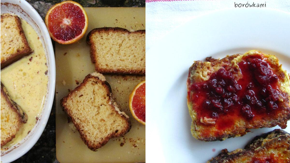 Smażony chleb z borówkami i pomarańczą